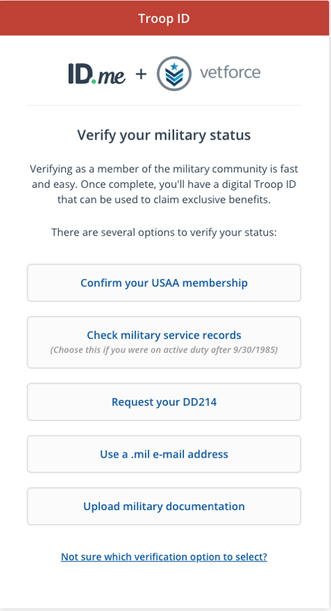 Alt text: The Troop ID interface with options to confirm USAA membership, check service records, request DD214, use a .mil email, or upload documentation.