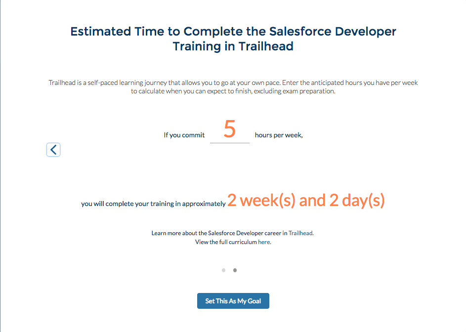 Alt text: The calculator interface showing if you commit 5 hours to the Salesforce Developer Training, you will complete in 2 weeks and 2 days.