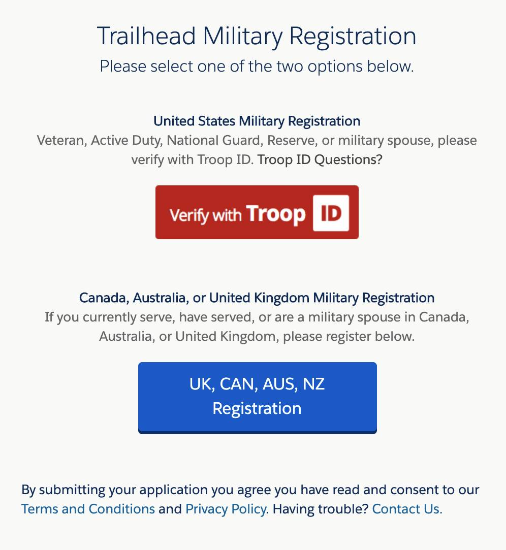 The Troop ID interface with options for US Military Registration or Canada, Australia, or United Kingdom Military Registration.