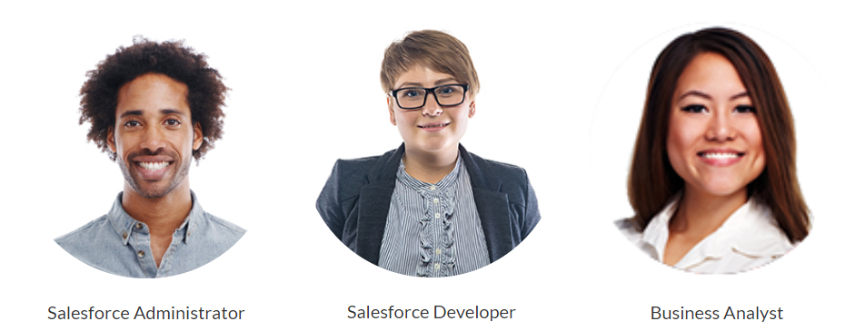 Alt text: Images of three people for the three pathways: Salesforce Administrator, Salesforce Developer, and Business Analyst.
