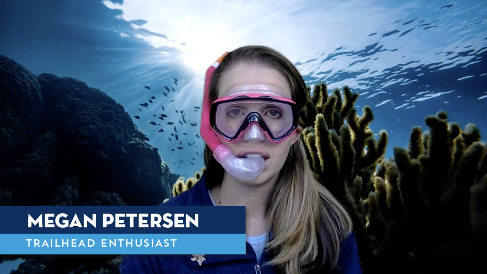 a picture of a woman underwater wearing a snorkel mask with a lower third showing her name and title