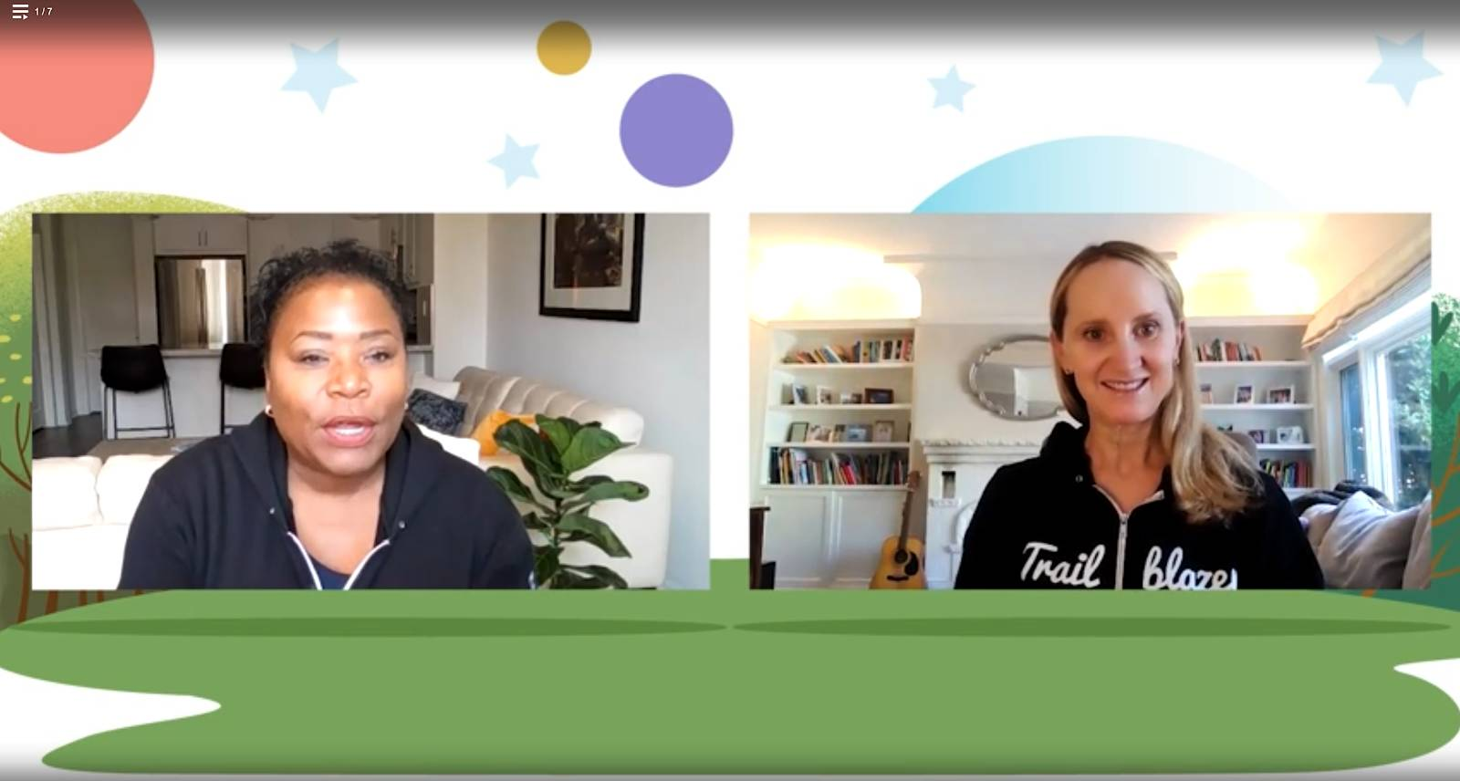 Two women featured split screen with a Trailhead inspired background, one woman is smiling and the other one is talking