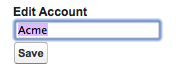 A basic form to edit account name