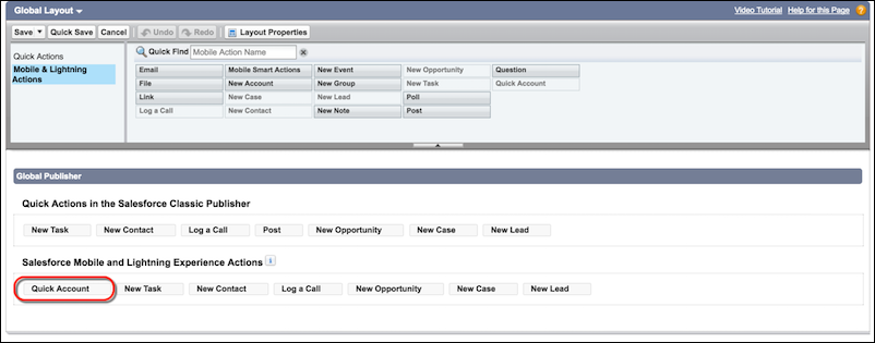 Add the Quick Account action to the global publisher layout