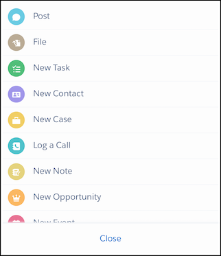 Create Quick Order action in the action menu