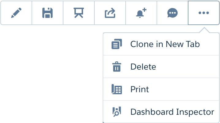 Icons and dropdown menu in the upper right corner of the dashboard