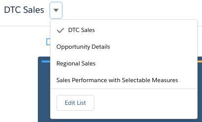 Sélection d'autres vues de liste dans le tableau de bord DTCSales.