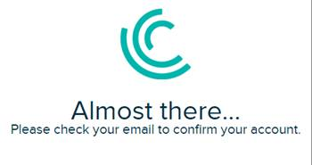 Uma mensagem de confirmação aparece pedindo para você verificar seu email.