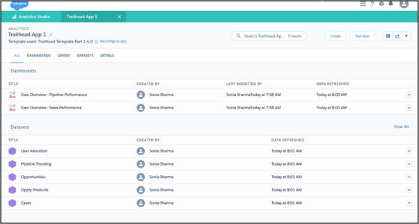 Execs Only基本应用程序仪表板和数据集列表