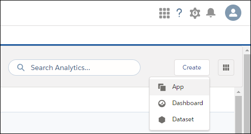 The Analytics create app button and selector