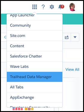 应用程序选择器中的Trailhead数据管理器