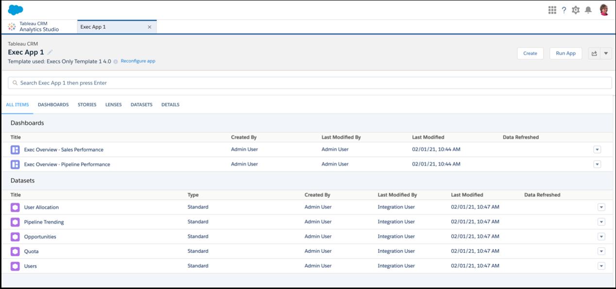 Execs Only の基本アプリケーションのダッシュボードとデータセットリスト