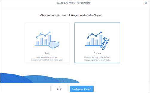 Choose how you would like to create Sales Wave screen