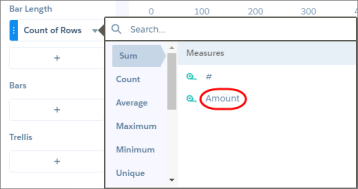 The explorer shows a list of aggregate functions, like count, sum, and average, as well as the measures on which you can perform these calculations.