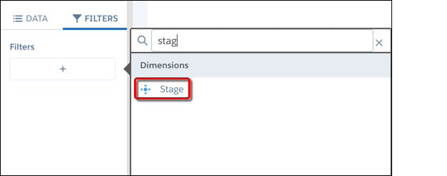 The Stage field shows under Dimensions when you add a filter.