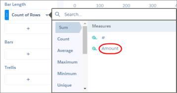O explorador mostra uma lista de funções agregadas, como contagem, soma e média, além das medidas nas quais você pode realizar esses cálculos.