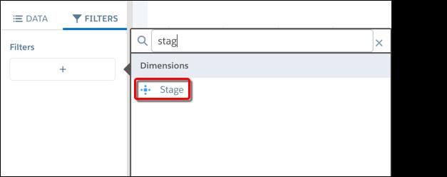O campo Fase aparece em Dimensões quando você adiciona um filtro.