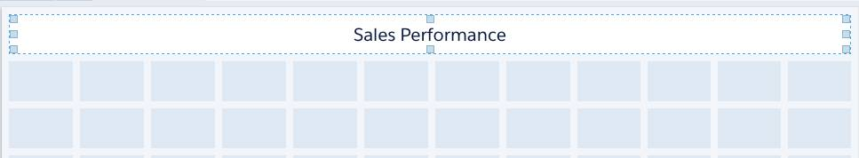 The Sales Performance text widget is 12 cells wide.