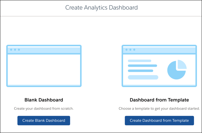 Choose whether to create a new dashboard or one from a template.