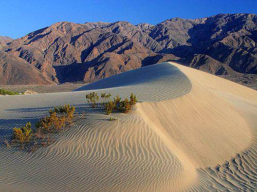 デスバレーの砂丘と背景の山脈の写真。