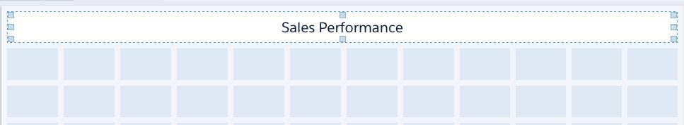 O widget de texto Desempenho de vendas tem 12 células de largura.