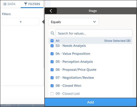 Toutes les valeurs de filtre possibles pour le champ Étape sont sélectionnées sauf