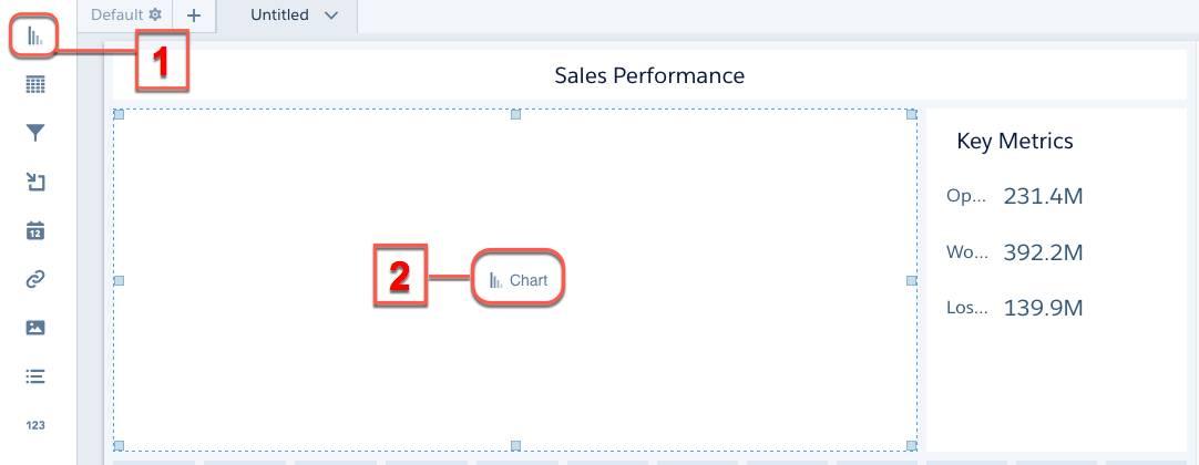 O botão Gráfico aparece no widget de gráfico quando você passa o mouse sobre ele.