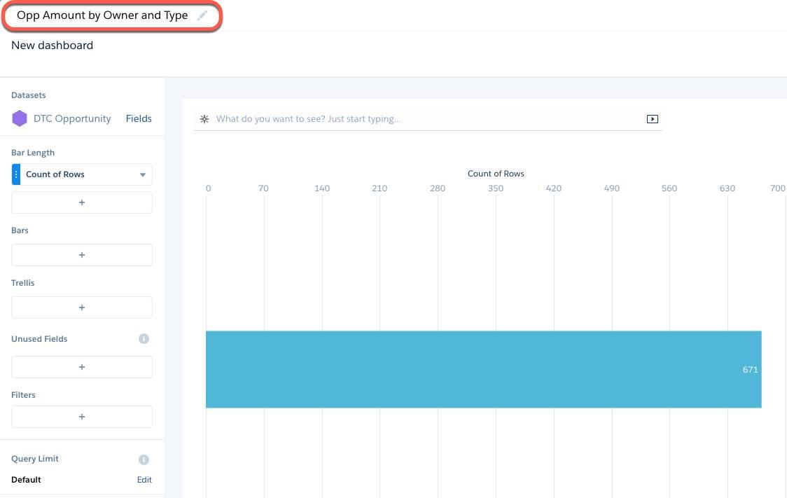 O Analytics reutiliza o mesmo conjunto de dados selecionado durante a criação da etapa anterior.