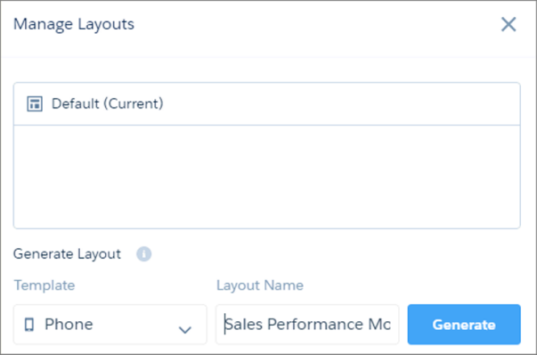 The Manage Layouts page lists all previously created layouts and allows you to create a new one.