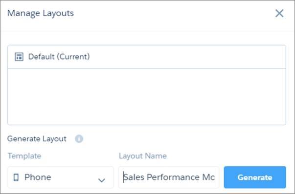 A página Gerenciar layouts lista todos os layouts criados anteriormente e permite que você crie um novo.