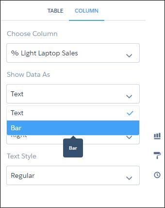 Les propriétés de la colonne permettent d'afficher les données sous forme de barres.
