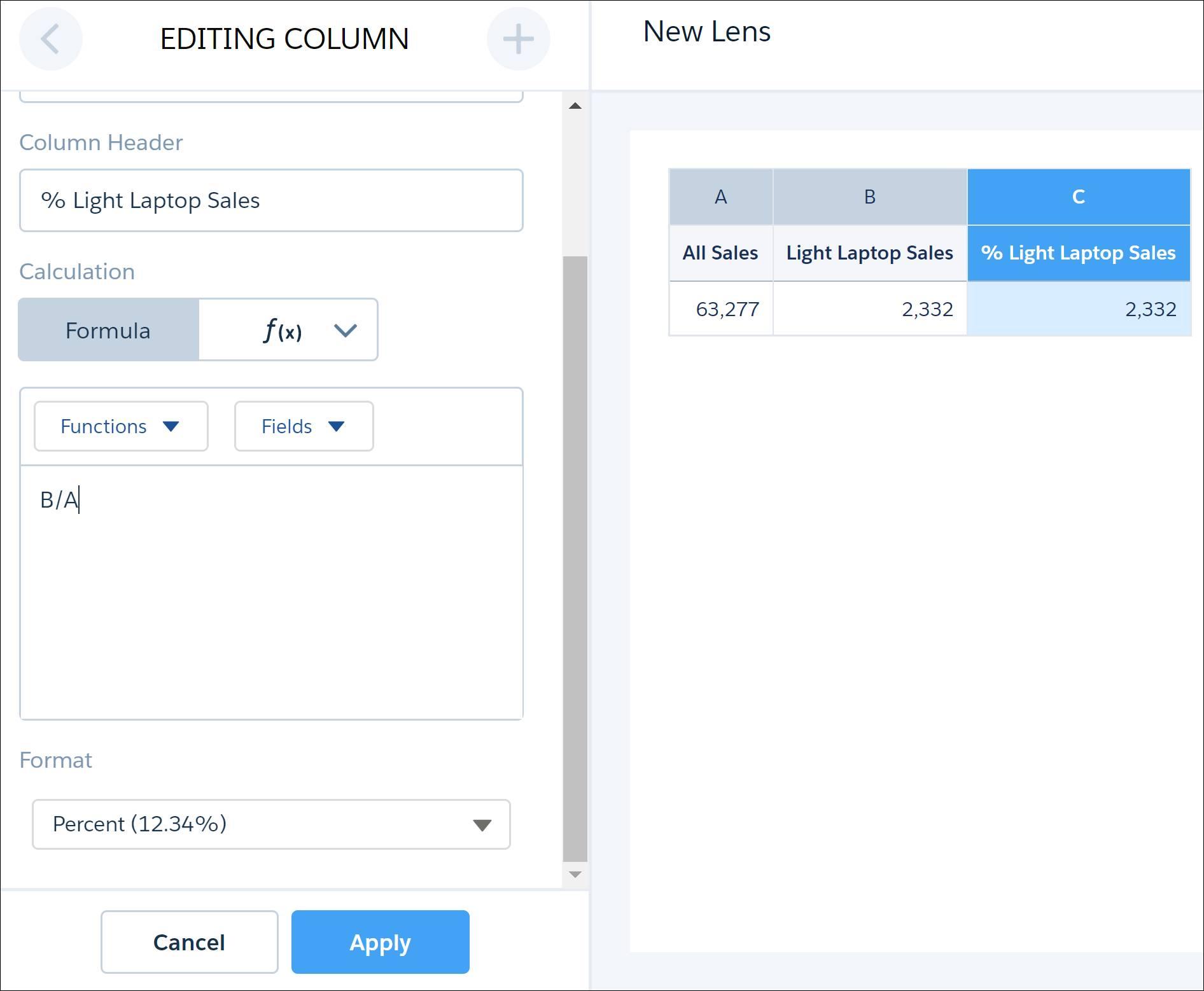 Editar o nome, a fórmula e o formato de dados da coluna para exibir a porcentagem de vendas