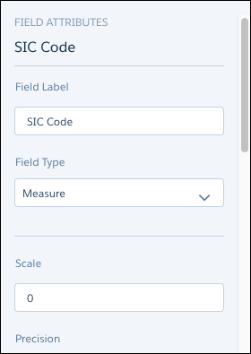 SIC Code field attributes