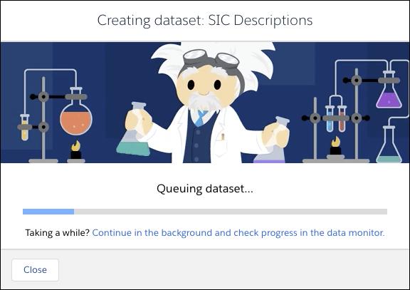 Boîte de dialogue de progression s'affichant à l'écran pour indiquer la progression du processus de création de jeu de données