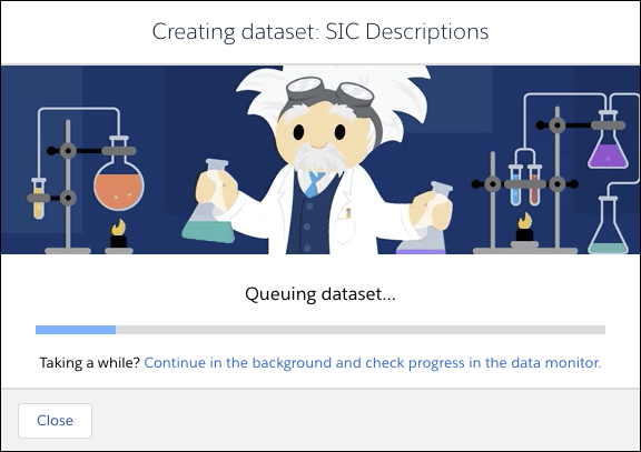 Diálogo de progresso na tela mostrando o andamento do processo de criação do conjunto de dados