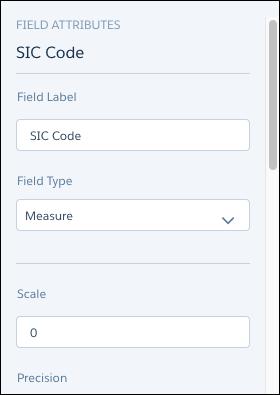 Atributos de campo Código SIC