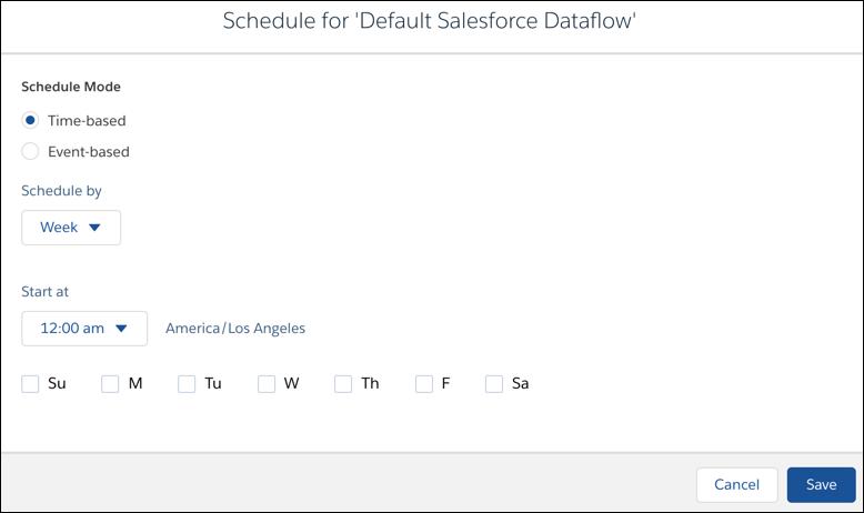 Dataflow schedule settings screen