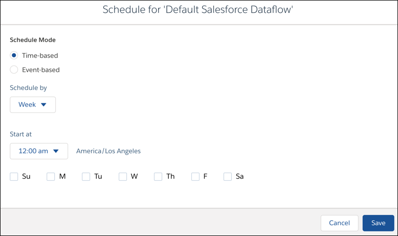 Dataflow schedule settings screen