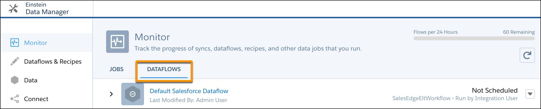 Subguia Fluxos de dados selecionada na guia Monitorar no gerenciador de dados
