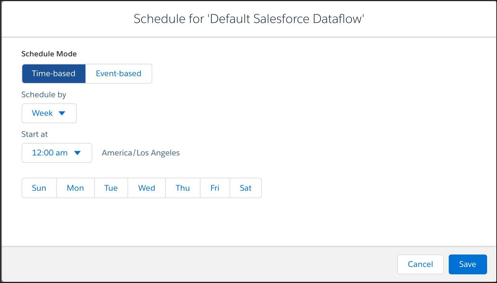 Tela de configurações de agenda do fluxo de dados