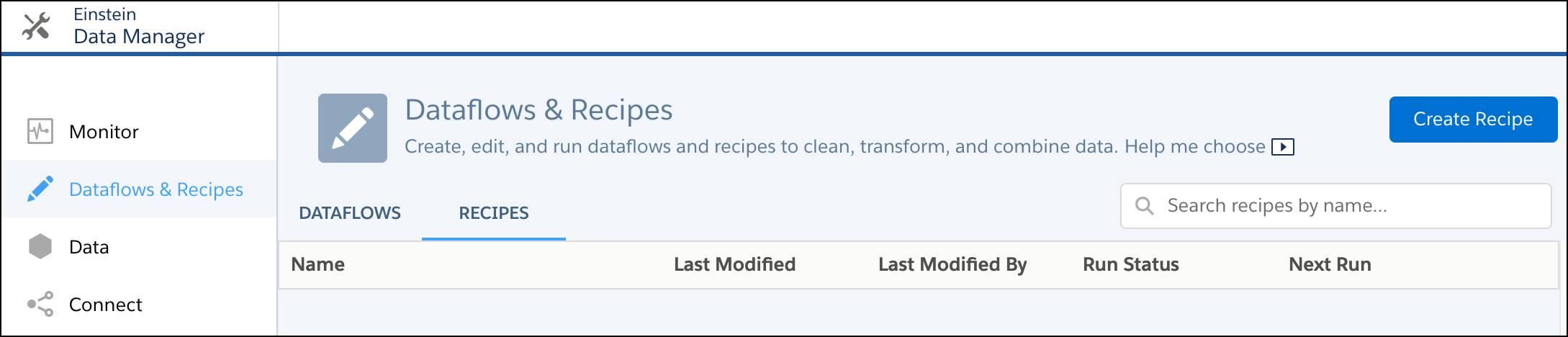 Registerkarte 'Datenset-Rezepte'