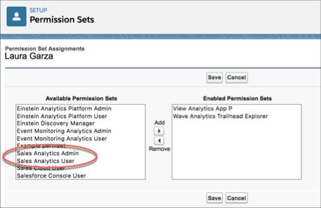 Permission Set Assignment page showing available permission sets, with default sets for Sales Analytics circled.
