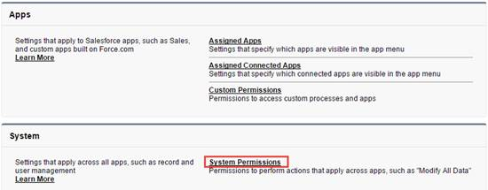 Page shows the System Permissions section.
