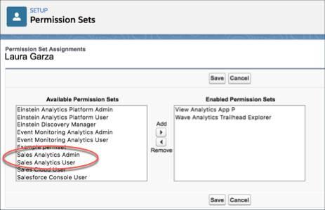 Página Atribuição de conjunto de permissões mostrando os conjuntos de permissões disponíveis, com as configurações padrão para o Sales Analytics circuladas.