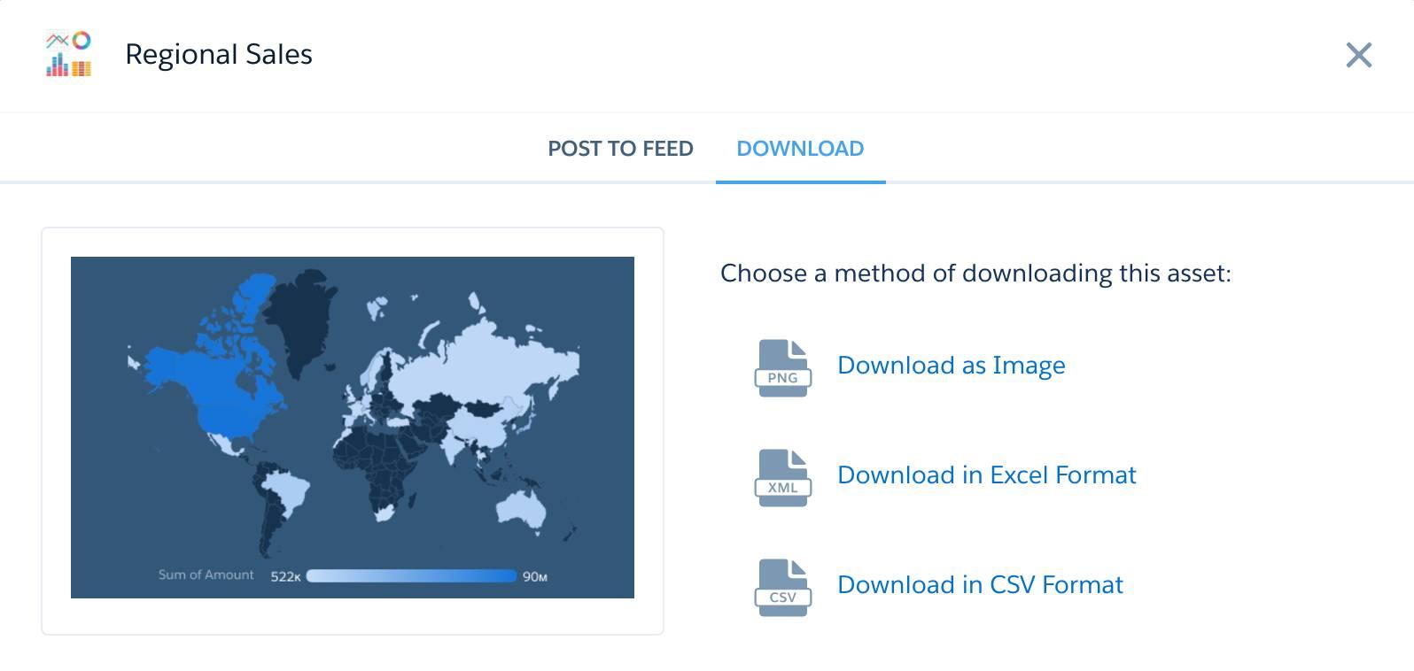 Diálogo de compartilhamento com a opção Fazer download selecionada