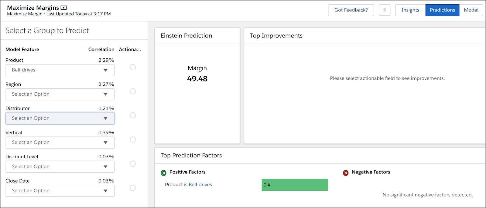 When Product is Belt Drives, margin drops to 49.48