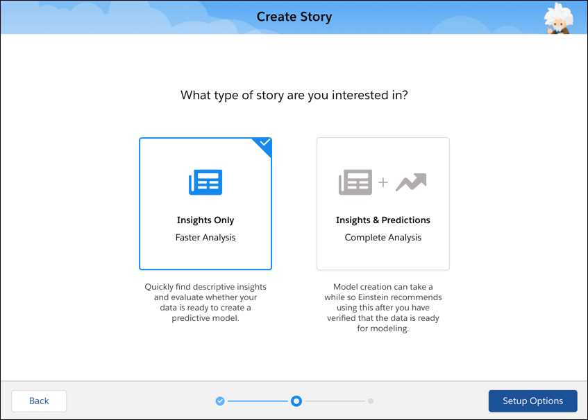Einstein Discovery create story type screen