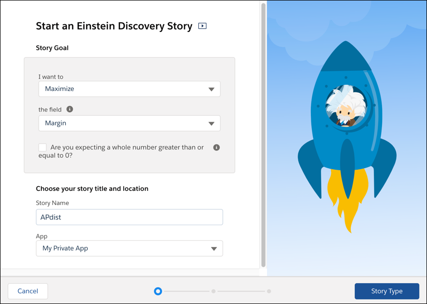 Einstein Discovery の [Create Story (ストーリーを作成)] 画面