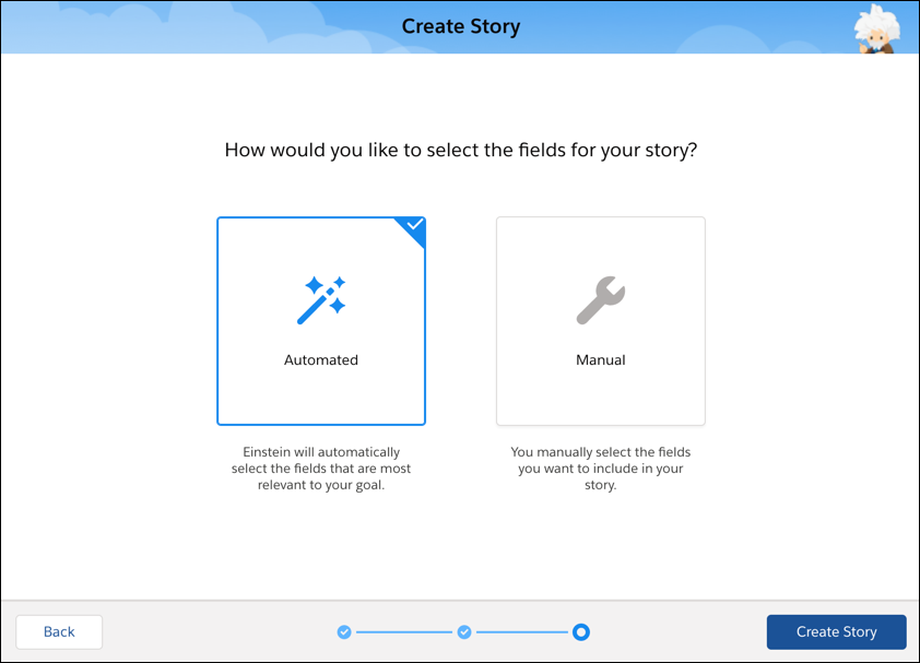 Einstein Discovery の [ストーリーを作成] の設定オプション画面
