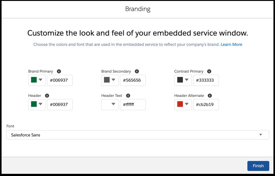 Embedded Service branding options.